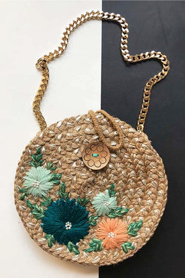Dhaaga Handcrafts-Round silver sea green, pastel orange floral sling bag