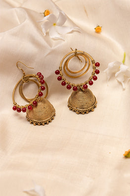 Miharu Handcrafted Red Gold Tone Brass Jhumka Earrings Online