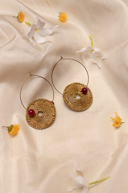 Miharu Gold and Red Circle Brass Dangling Earrings