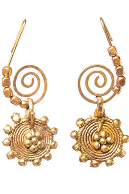 Miharu Gold Tone Round Earrings