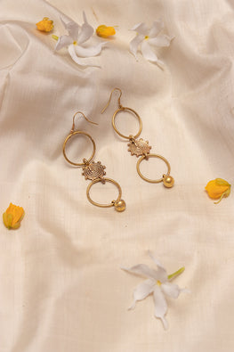 Miharu Tri-Ring Gold Tone Earrings