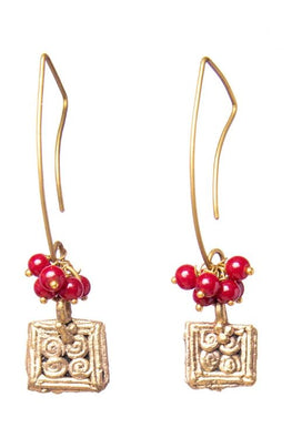 Miharu Square Dangle Gold Tone Earrings