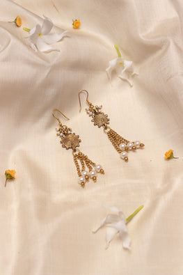 Miharu Miharu Gold Brass Tribal Black Bead Earrings