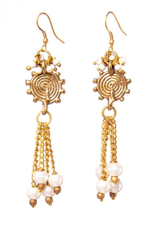 Gold Brass Tribal Pearl earrings