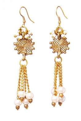 Miharu Gold Brass Tribal Pearl earrings