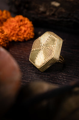 Miharu Dokra Honeycomb Adjustable Finger Ring Online