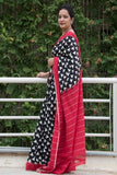 Soft Bengal Cotton Saree - Black, White & Red - The India Craft House