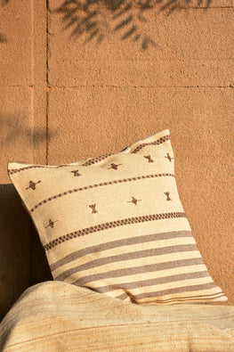 Chokhla' Wool Extra Weft Stripes and Motifs Cushion Cover by Rangsutra