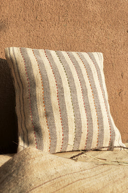 Chokhla' Wool Extra Weft Thick Stripes with Embroidery Detailing Cushion Cover by Rangsutra