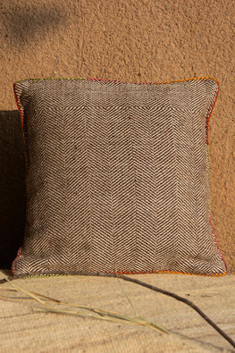 Rangsutra Hand Embroidered Chocolate Brown Woollen Cushion Cover 12x12 Online