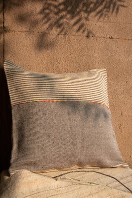 Chokhla' Wool Extra Weft Thin Stripes with Embroidery Detailing Cushion Cover by Rangsutra-1