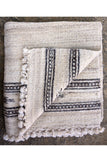 Patanwadi Wool handspun, hand woven, grey and white patterned border rug by Khamir