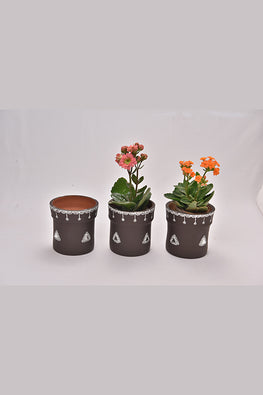 Antarang- Terracota Black Planters (Set of 3)