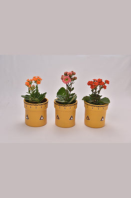 Antarang- Terracota Yellow Planters (Set of 3)