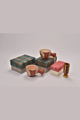 Antarang- Terracota traditional painting mugs (set of 2) and 1 terracota pen stand'.