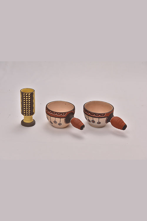 Antarang- Terracota round traditional painting mugs (set of 2) and 1 yellow pen stand