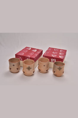 Antarang- Terracota handpainted glasses (Set of 4).