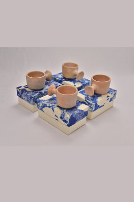Antarang- Terracota flower handled Mugs. (Set of 4 )