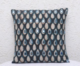"""Okhai Black Print Mirror Work Cushion Cover"""