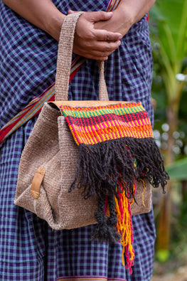 Deecani Wool felt and Vegetable tanned leather HAND BAG-AKA  by Dakhni Diaries.