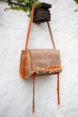Deecani Wool felt and Vegetable tanned leather ADI Sling Bag  by Dakhni Diaries.
