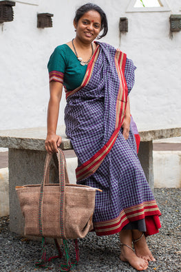 Deecani Wool felt and Vegetable tanned leather DEA HAND BAG  by Dakhni Diaries.