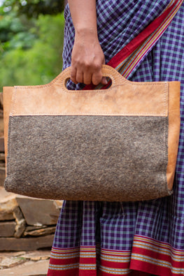 Deccani wool felt and vegetable tanned leather AGA Executive Bag by Dakhni Diaries