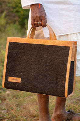 Deccani wool felt and vegetable tanned leather DAK Executive Bag by Dakhni Diaries