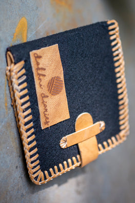 Deecani Wool felt and Vegetable tanned leather wallet  by Dakhni Diaries.