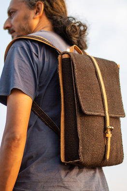 Deecani Wool felt and Vegetable tanned leather BACK PACK  by Dakhni Diaries.