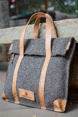 Deccani wool felt and vegetable tanned leather MIA Executive Bag by Dakhni Diaries