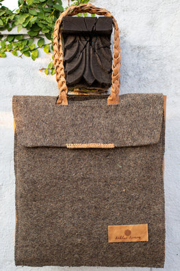 Deccani wool felt and vegetable tanned leather RUA Executive Bag by Dakhni Diaries