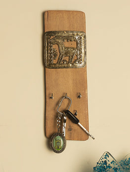 Wood & Dhokra Craft - Wood Key Hanger - The India Craft House