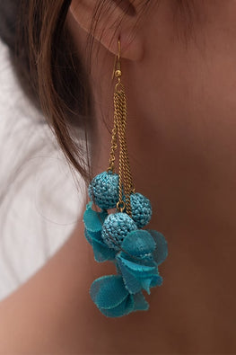 Samoolam Swing Earrings ~ Turquoise Floral
