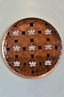 Brown lotus in a jali Wall Plate-6