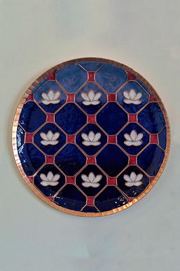 Blue lotus in a jali Wall Plate-7