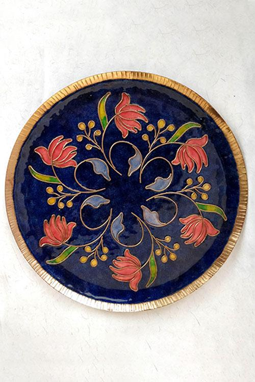 Blue swirling lotus Wall Plate-11