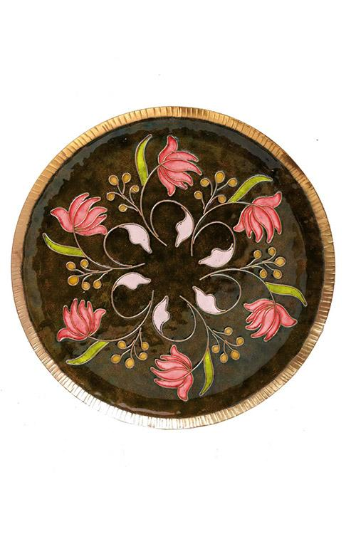 Brown swirling lotus Wall Plate-13