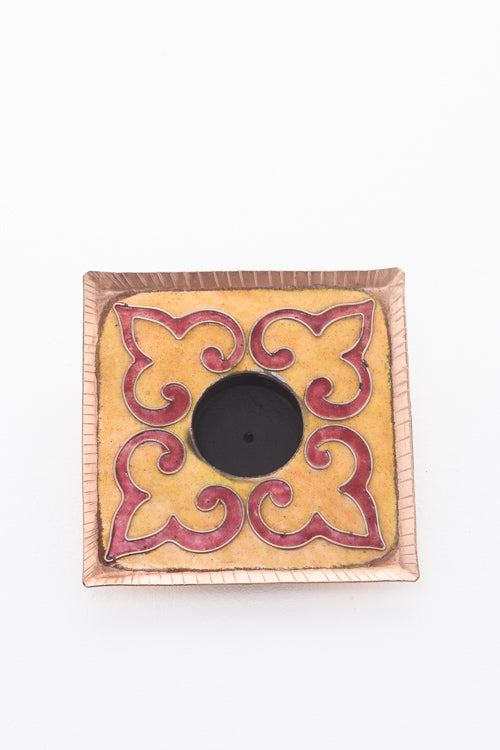 Ekibeki Square Tealight Holder in Yellow rangoli pattern