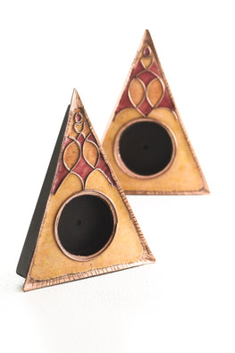 Ekibeki Yellow rangoli Pie Triangle Tealight holder- set of 2