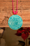 Turquoise beaten copper with cotton adjustable string