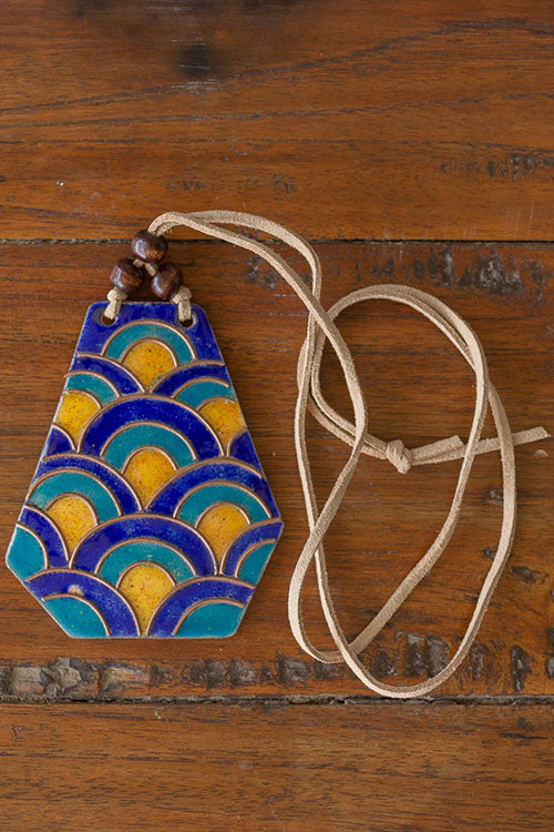 Retro Style copper enamel pendent with faux leather string and wooden beads-1