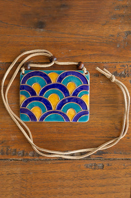 Retro Style copper enamel pendent with faux leather string and wooden beads-2