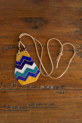 Retro Style copper enamel pendent with faux leather string and wooden beads-4