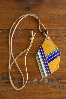 Retro Style copper enamel pendent with faux leather string and wooden beads-5