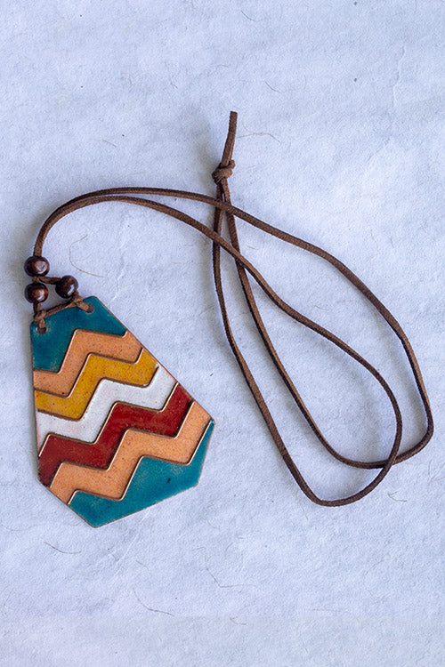 Retro Style copper enamel pendent with faux leather string and wooden beads-7