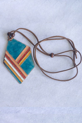 Retro Style copper enamel pendent with faux leather string and wooden beads-8