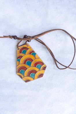 Retro Style copper enamel pendent with faux leather string and wooden beads-9