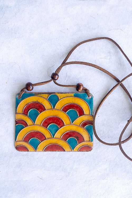 Retro Style copper enamel pendent with faux leather string and wooden beads
