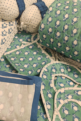 Earthen Nest Hand Block Printed Kids Furnishings- Penguin